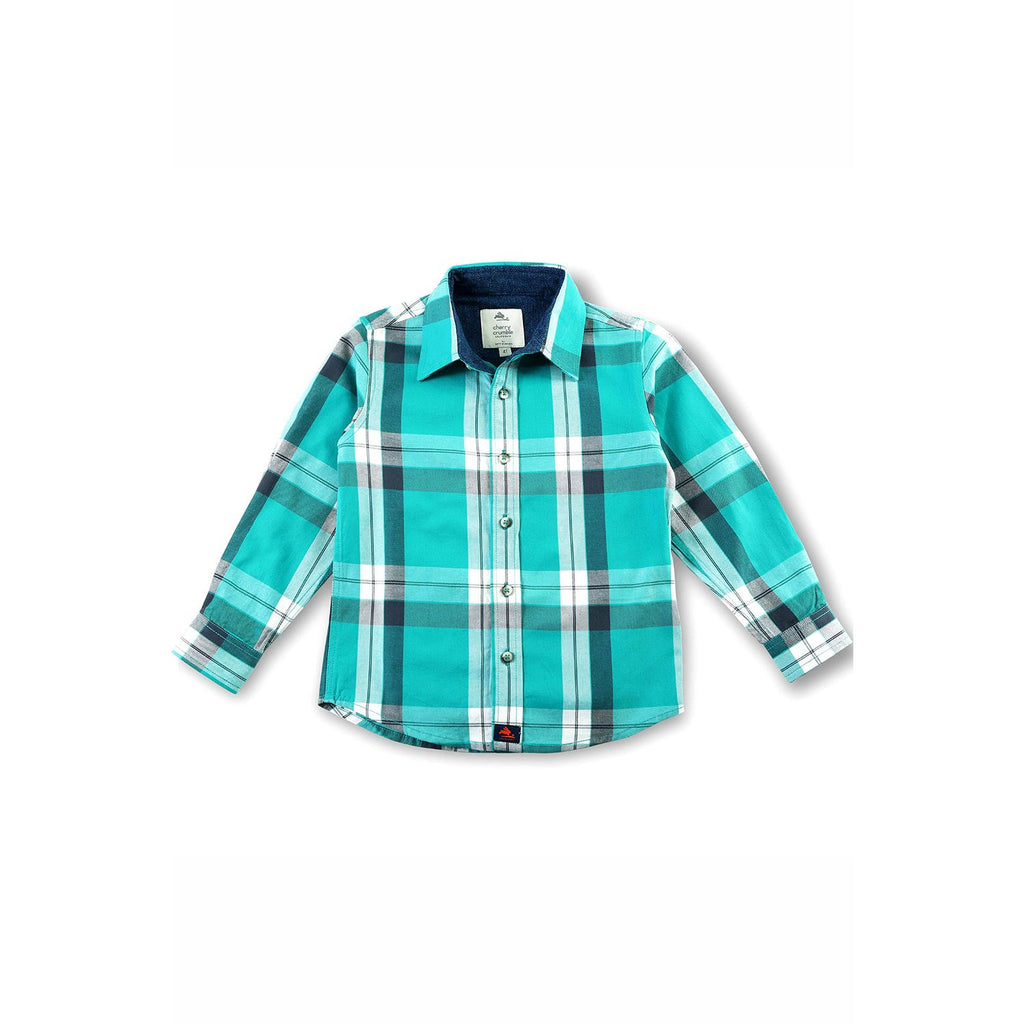 Cotton Yarn Dyed Twill Checkered Shirt for Boys
