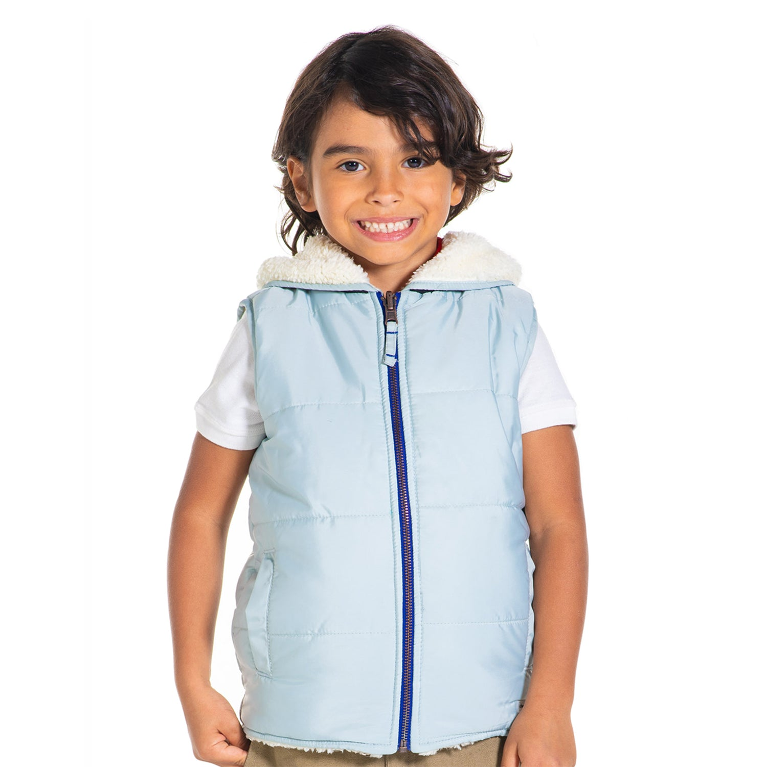 Sleeveless Hooded Regular Fit Reversible Jacket for kids