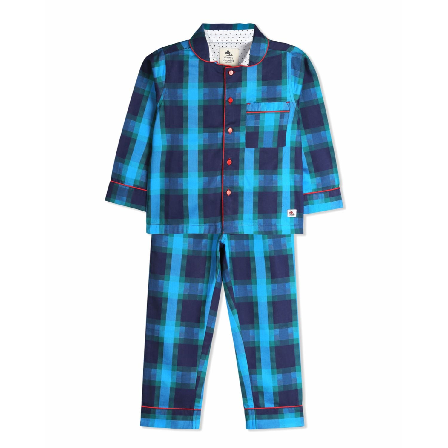 Abstract Check Night Suit for kids