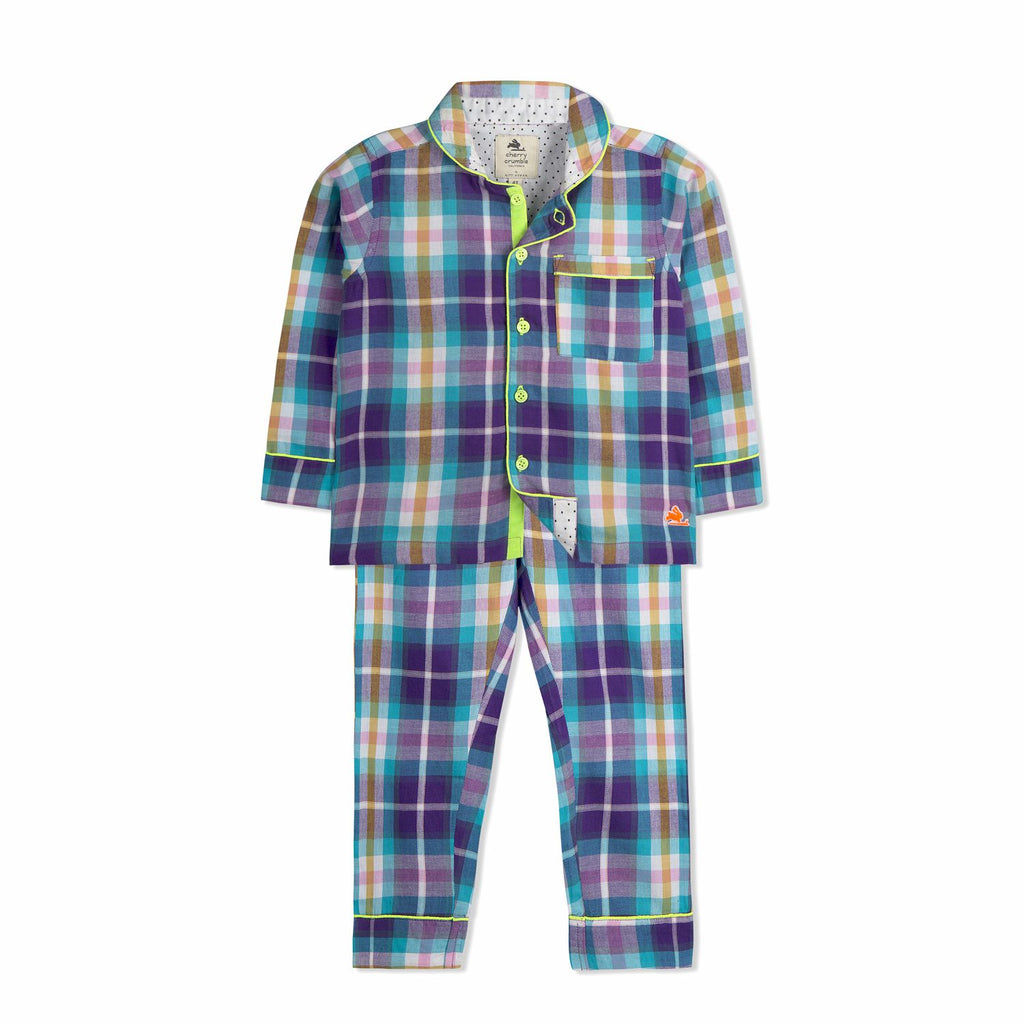 Unisex Check Plaid Nightsuit for kids
