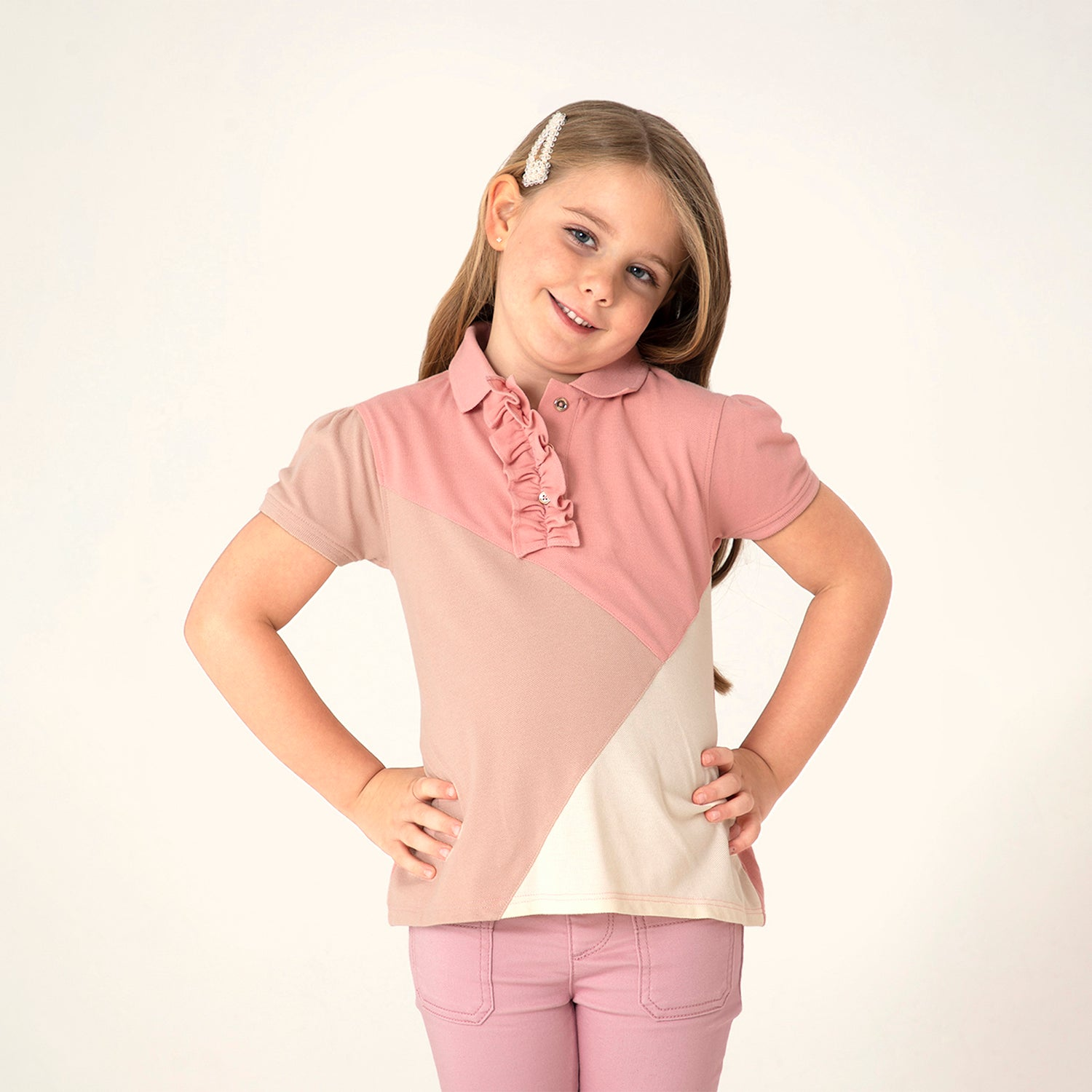 Cherry-Crumble-Kids-Half-Sleeve-Puff-Sleeves-Collared-Cut-&-Sew-Polo-Top