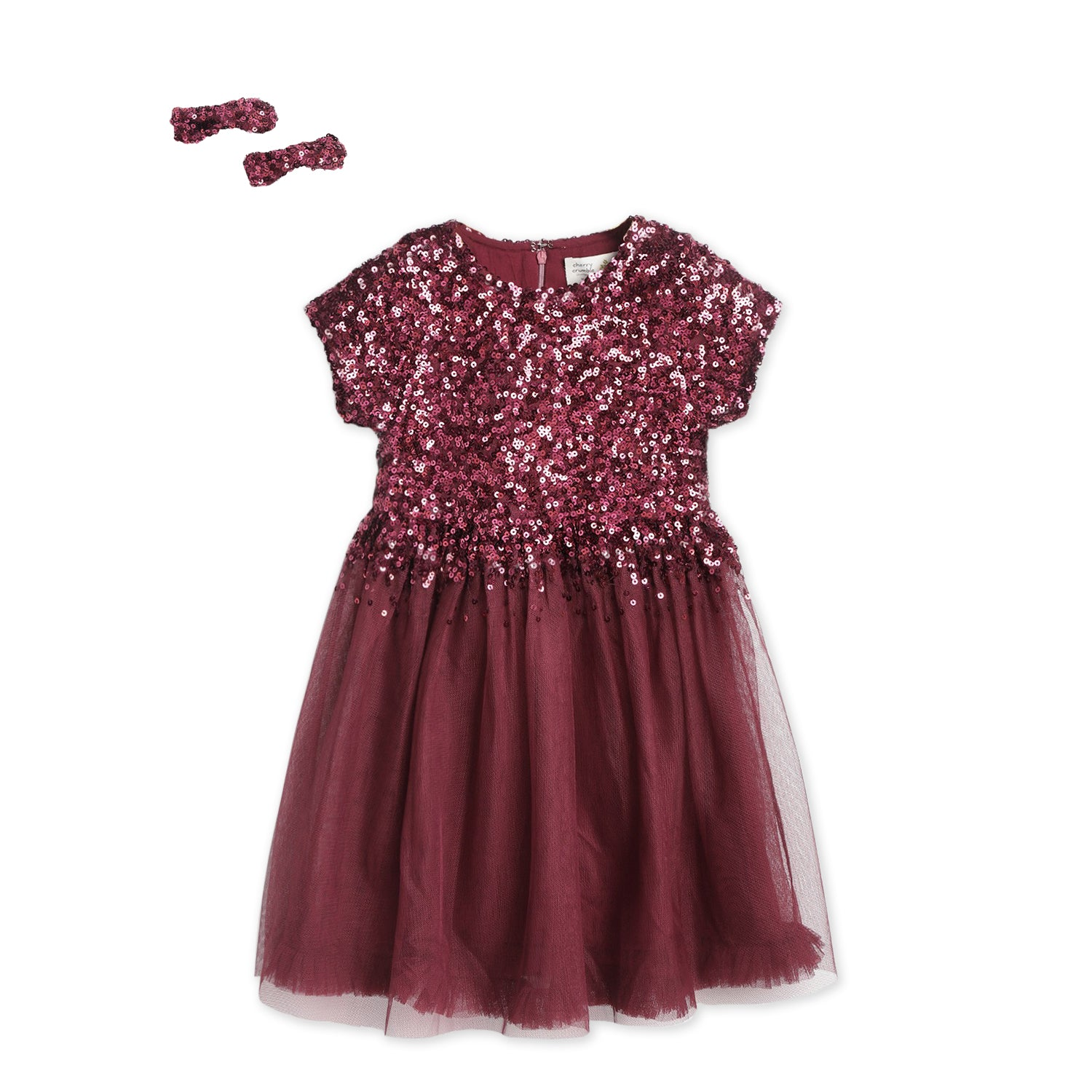 Rouge-Sequins-Dress-With-Bow-And-Clip