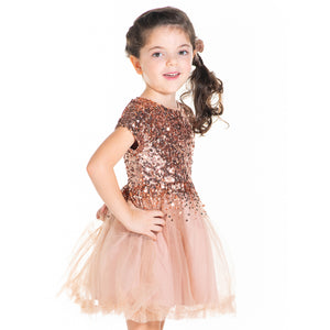 Salmon-Sequins-Dress-With-Bow-And-Clip