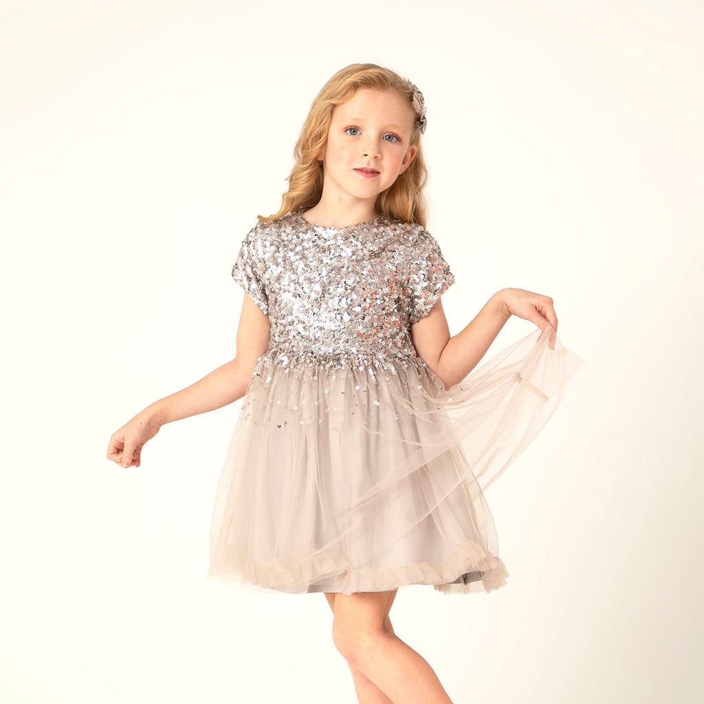 Shining Shelby Dress with Bow and Clip