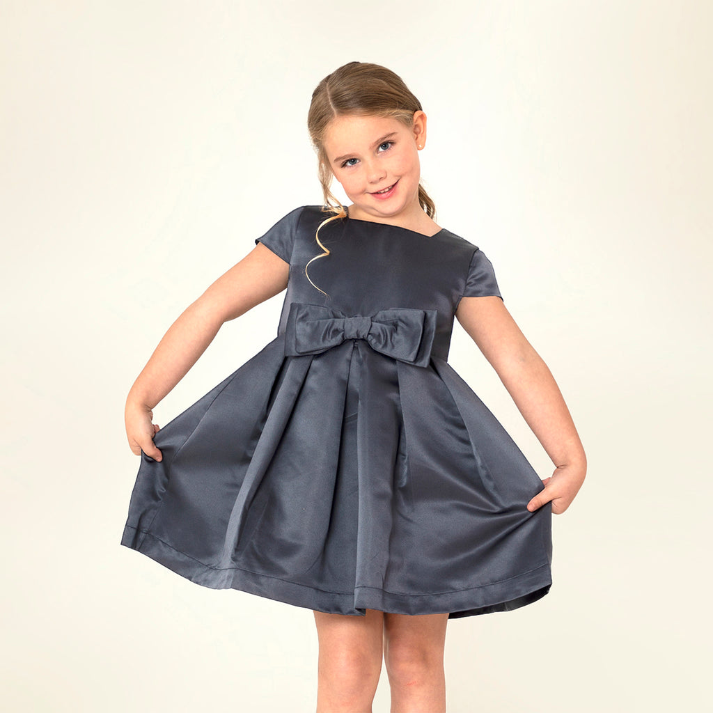 Cherry-Crumble-Kids-Girls-Short-Sleeve--Round-Neck-Full-Length-Solid-Fit-&-Flare-Dress