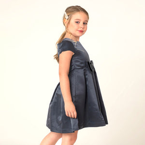 Cherry-Crumble-Kids-Girls-Short-Cap-sleeve-Round-Neck-Full-Length-Solid-Fit-&-Flare-Dress