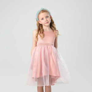 Cherry-Crumble-Kids-Girls-Sleevless--Round-Neck-Full-Length-Solid-Fit-&-Flare-Dress