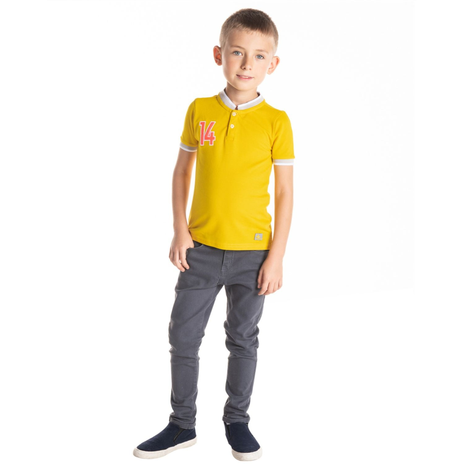 Sporty Mandarin Polo for Boys