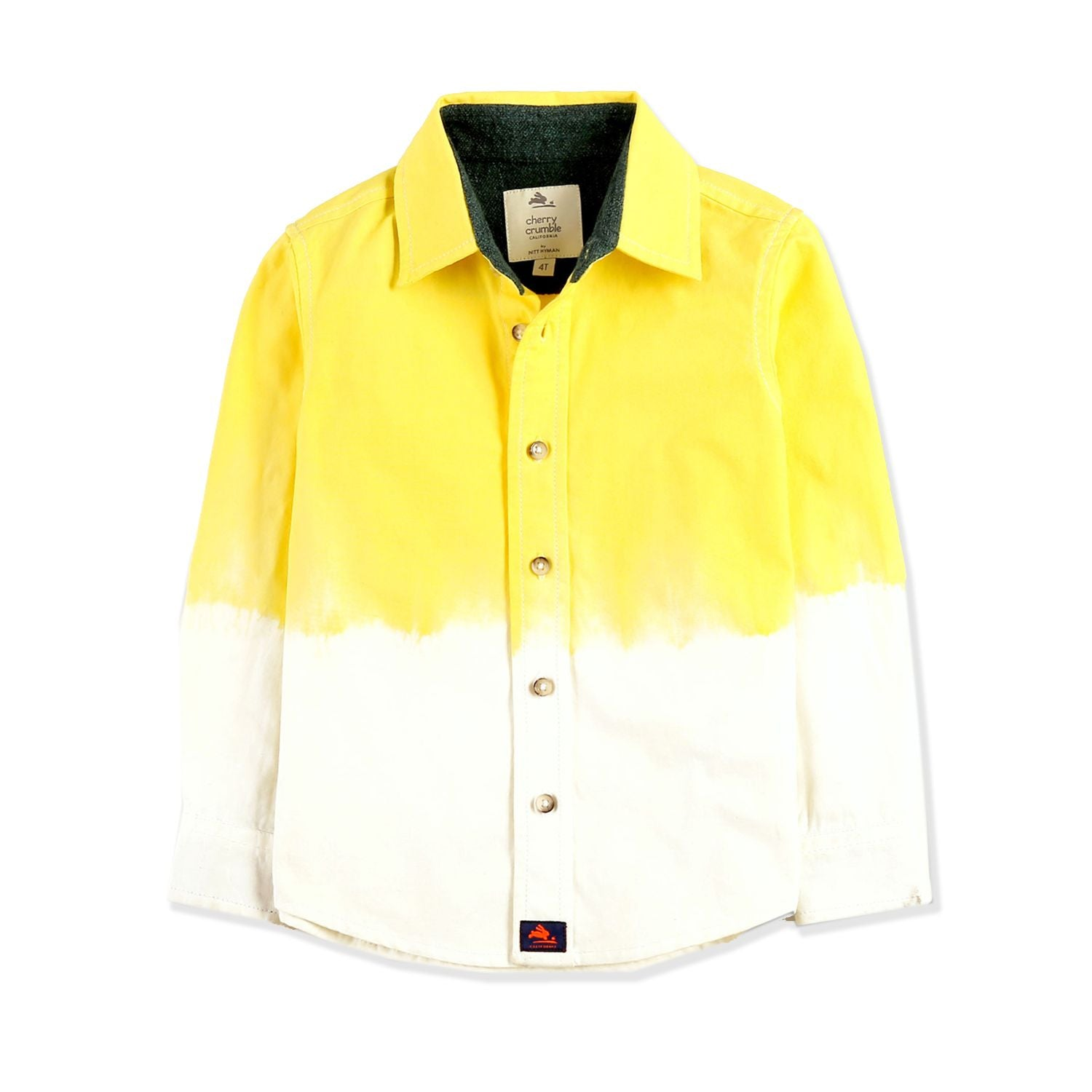 Ombre Dyed Yellow White Shirt for Boys