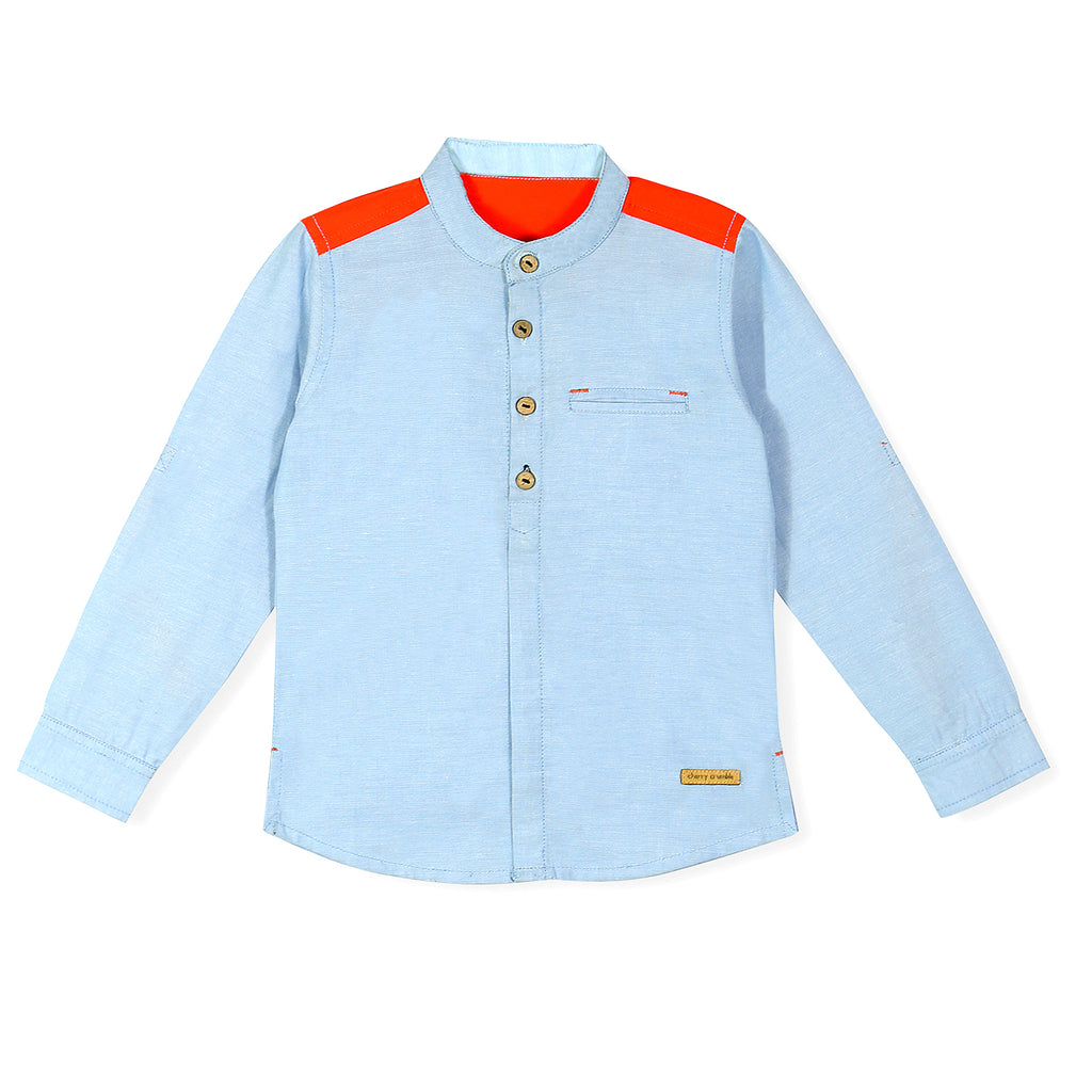 Color-Block Henley Shirt For Boys