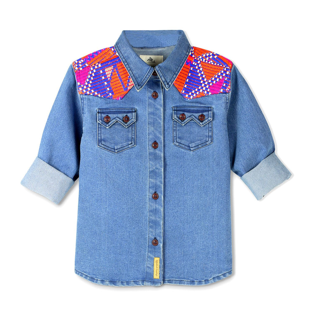 Denim Jacquard Trim Shirt for Boys