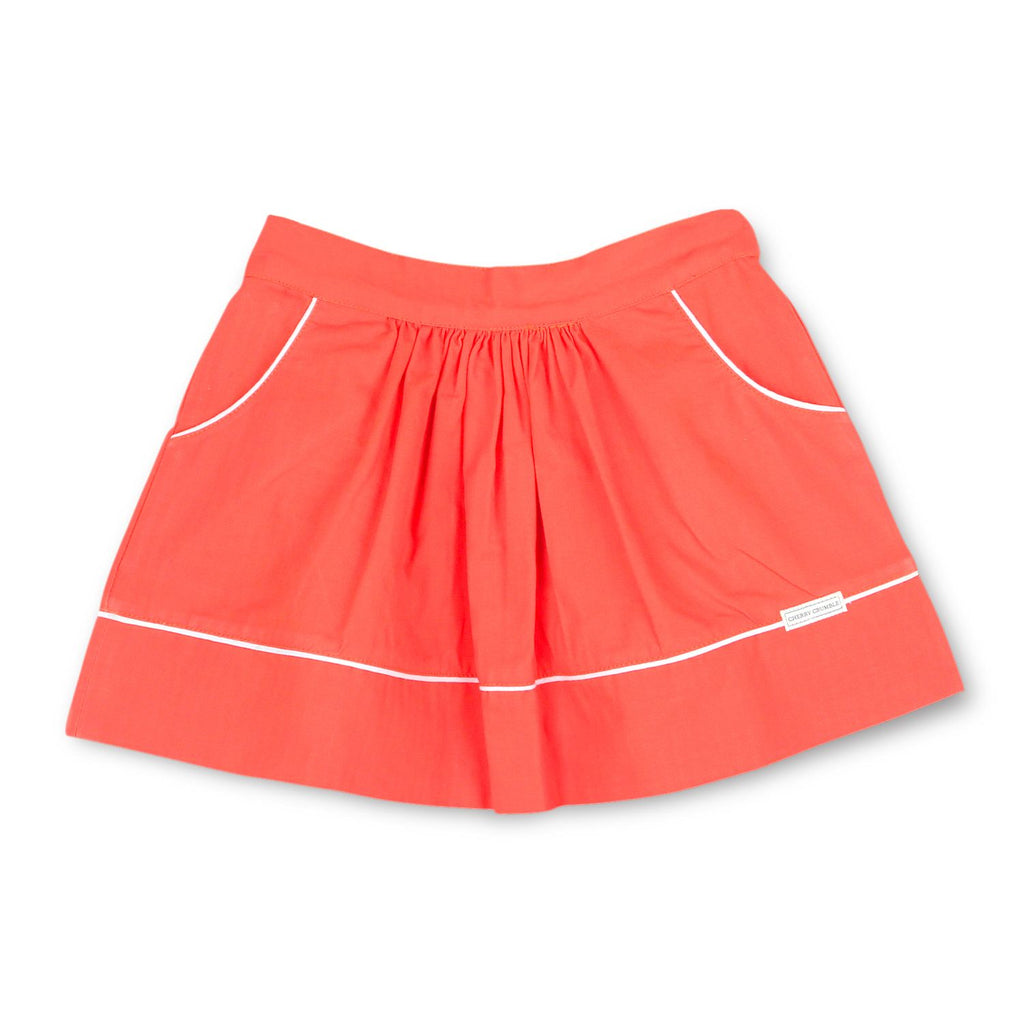 Cotton Twill Red Flare Skirt for Girls