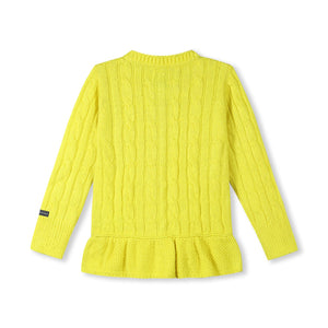 Soft Cable Knit Peplum Cardigan for Girls