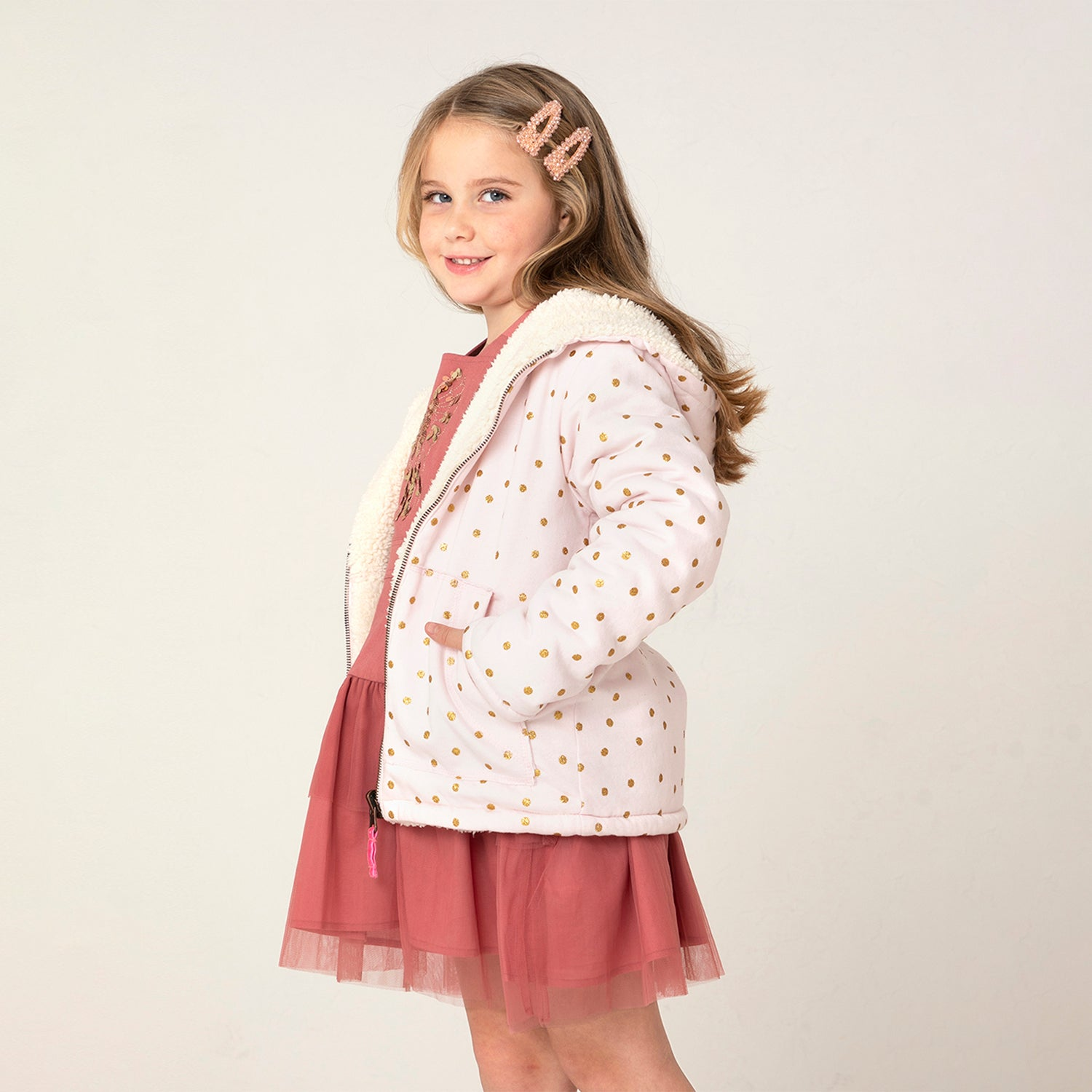 Polka Dot Reversible Hooded Sweatshirt for kids