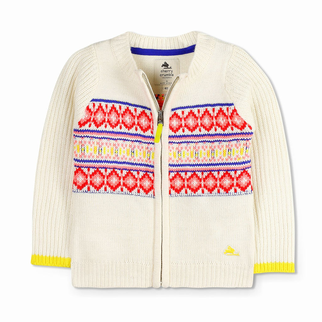 Patterned Zip Through Sweater for Boys