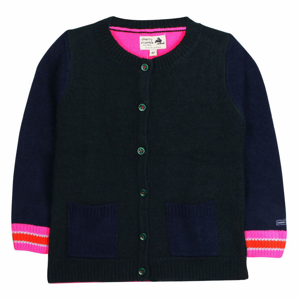 Colorblock Pocket Cardigan for Girls