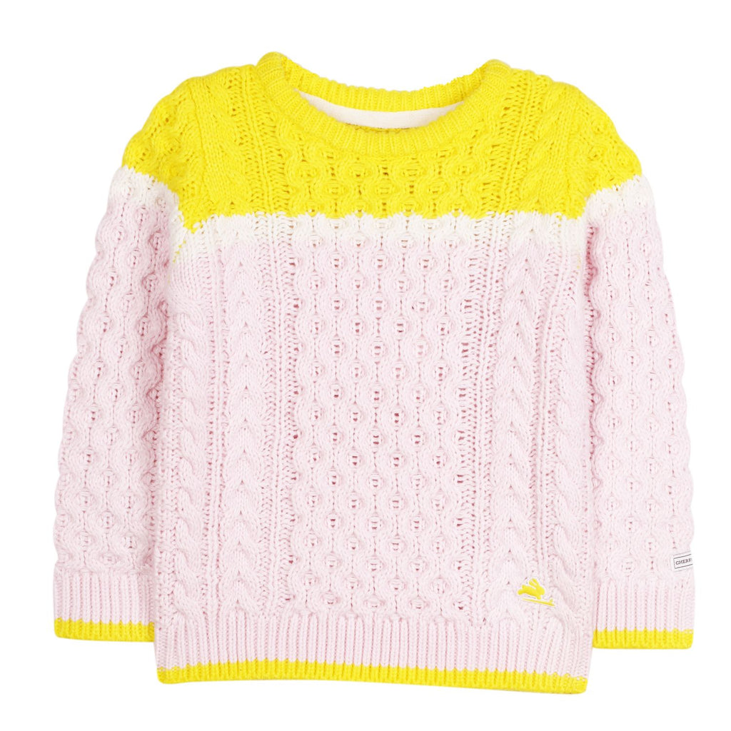 Bright Sunny Cable Knit Sweater for Boys