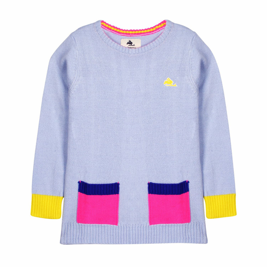 Colorblock Pocket Knitted Jumper for Girls