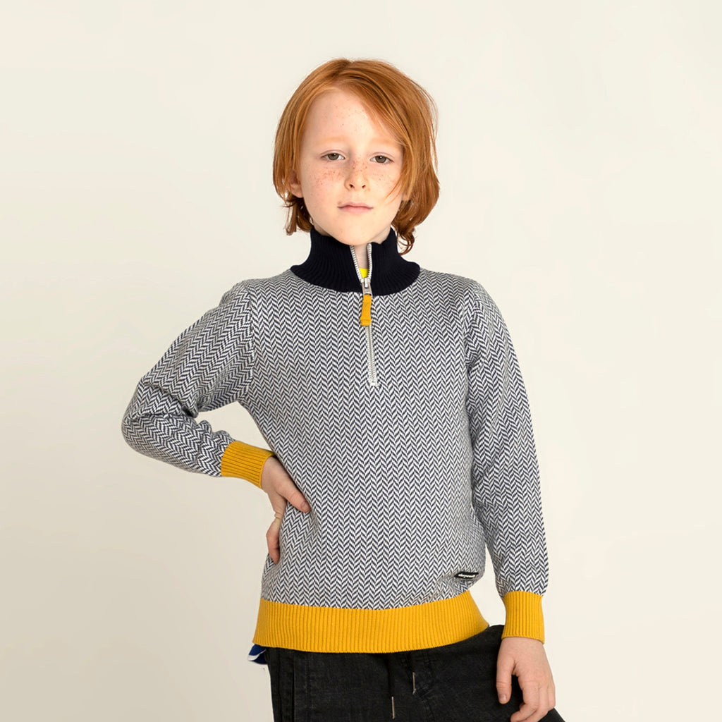 Half Zip Self Knitted Sweater for Boys