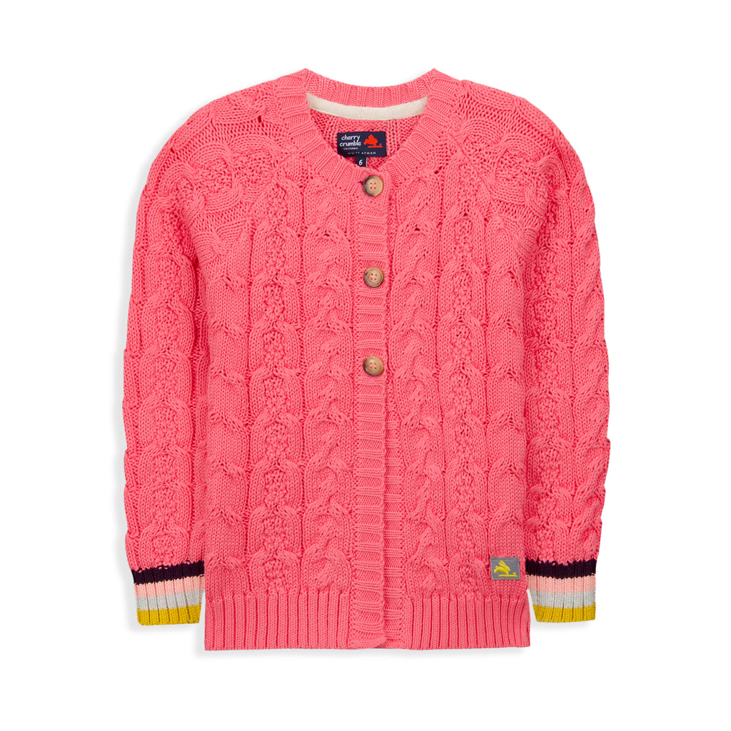 Cable Knit Cardigan For Girls