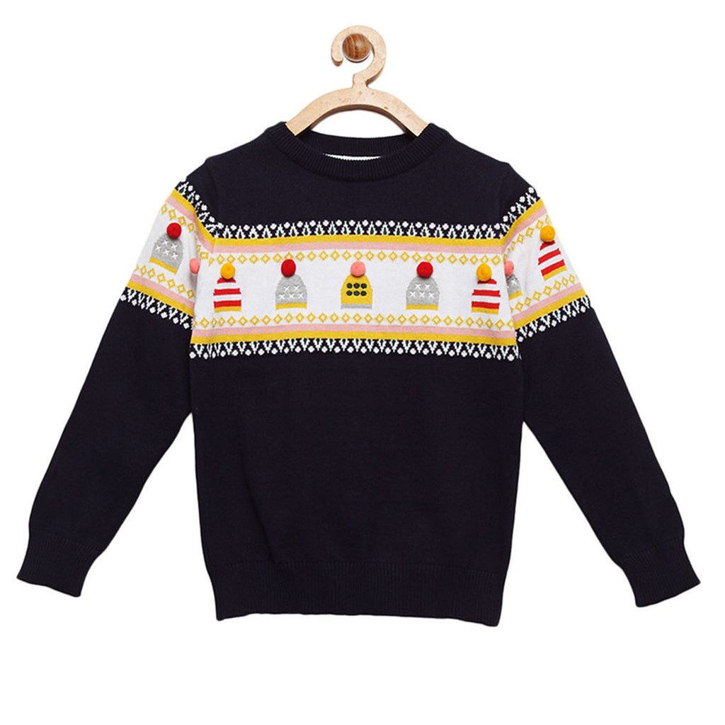 Pompom Cap Sweater for Boys & Girls