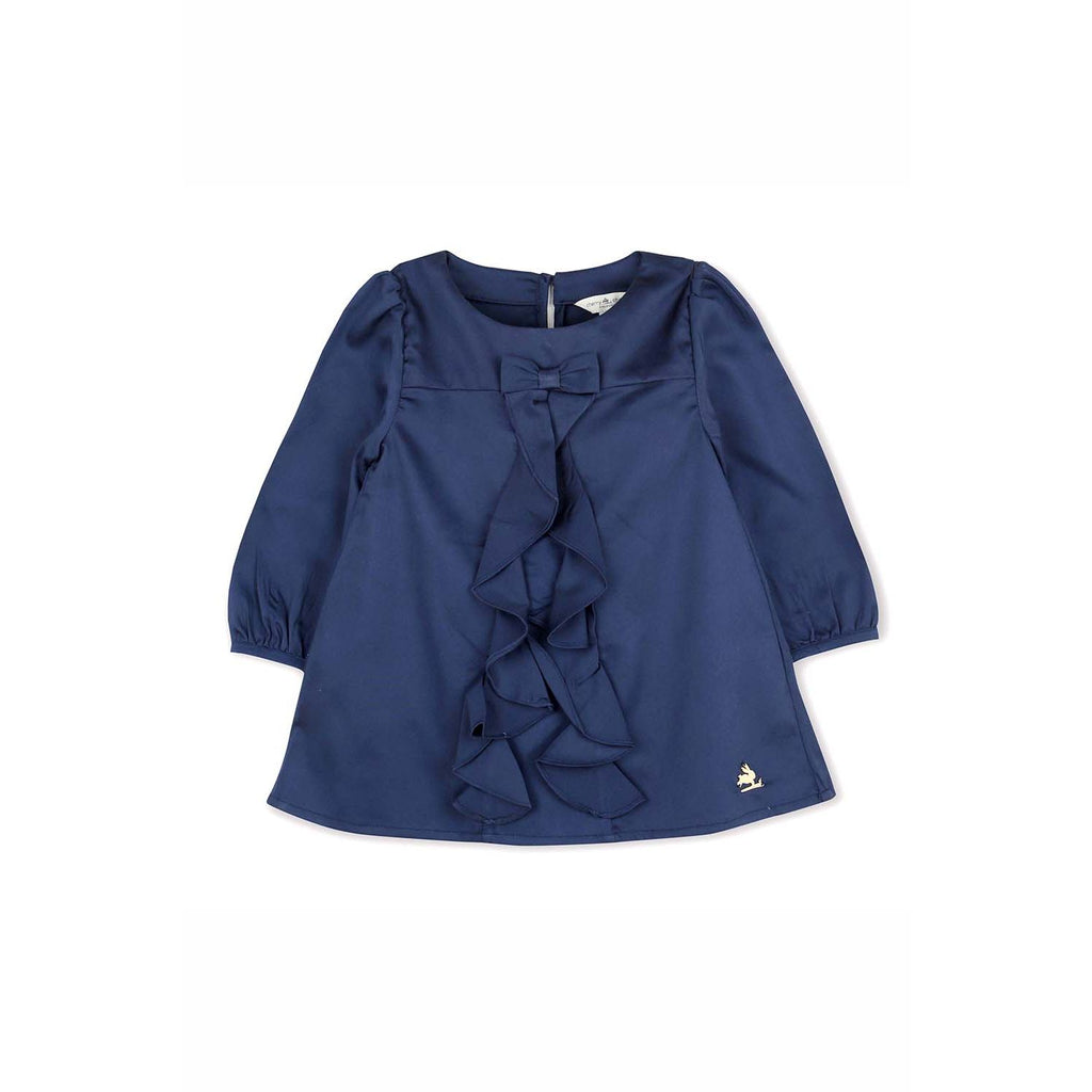 Cotton Satin Navy Blue Flare Top for Girls