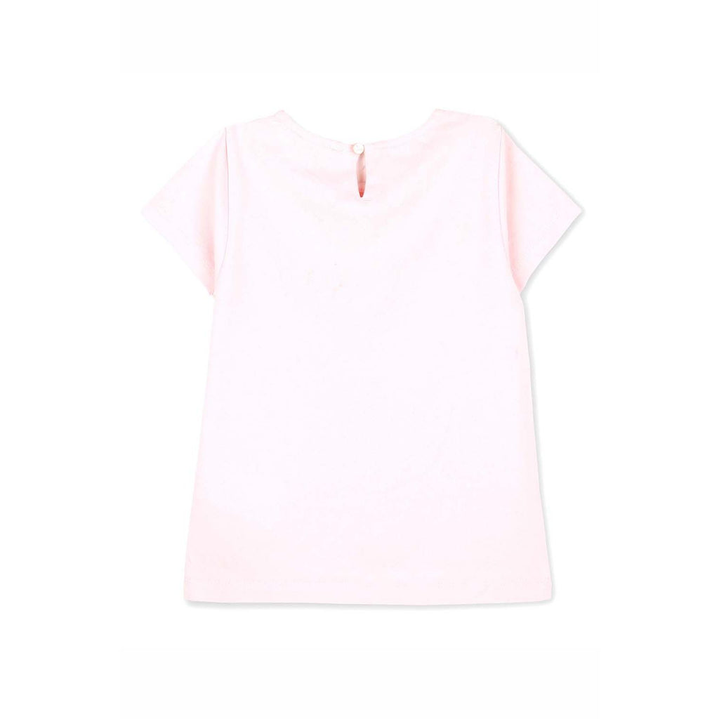Cotton Mesh Pink Sequence Top for Girls