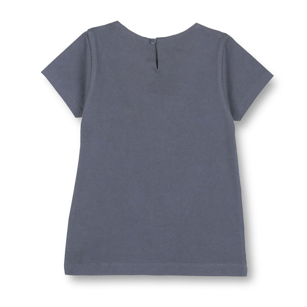 Bio Washed Cotton Grey Walking Sheep Applique Top for Girls