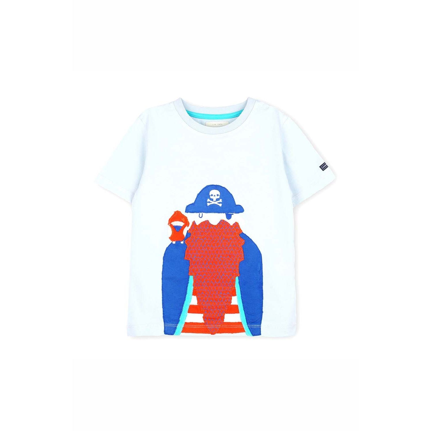 Bio Washed Cotton Blue Red With Orange T Shirt for Boys