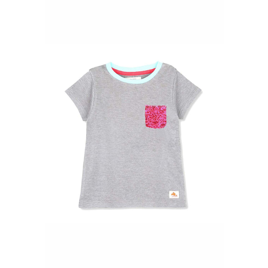 Soft Cotton Sequence Pocket Tee Top for Girls