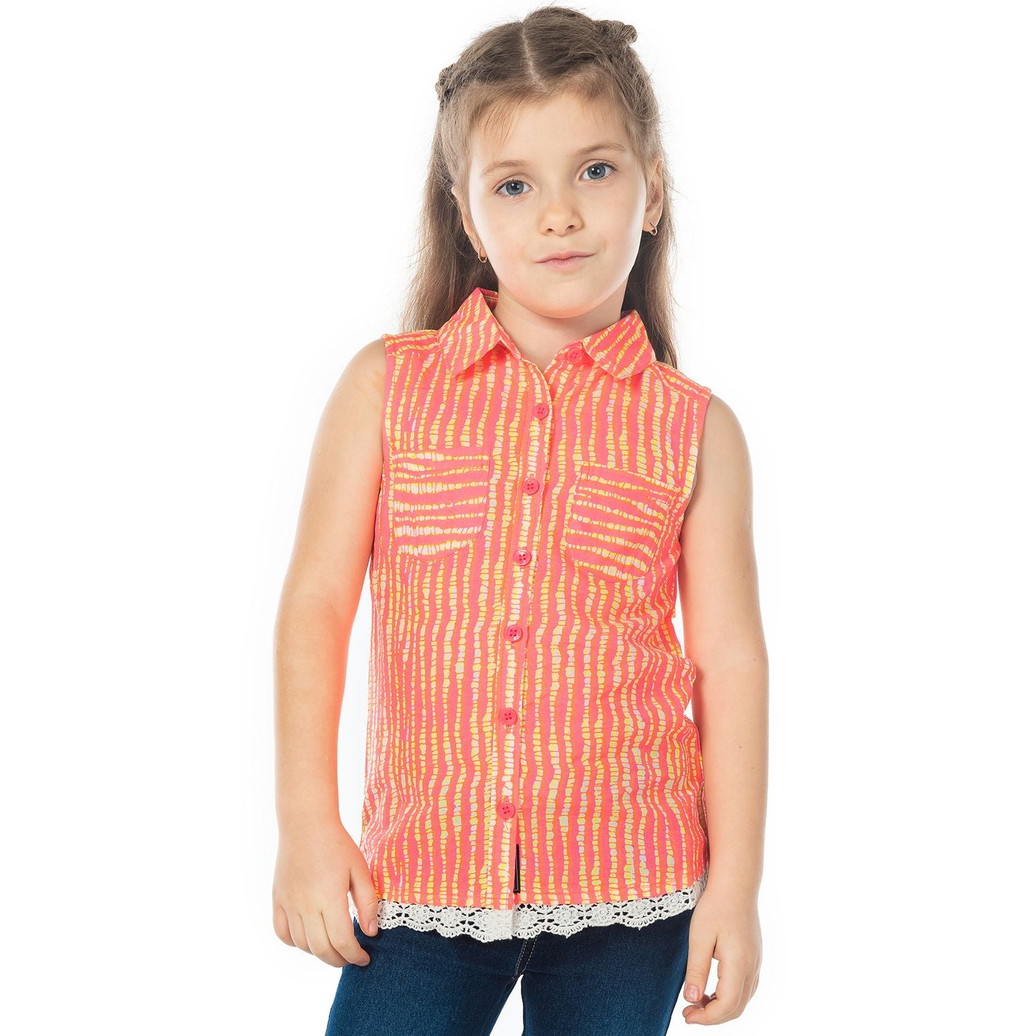 Bright Lace Panel Top for Girls