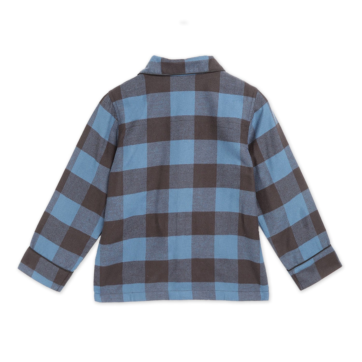 Cherry-Crumble-Kids-Unisex-Long-Regular-Sleeves-Collared-Full-Length-Checkered-Shirt-Pyjama-Nightsuit