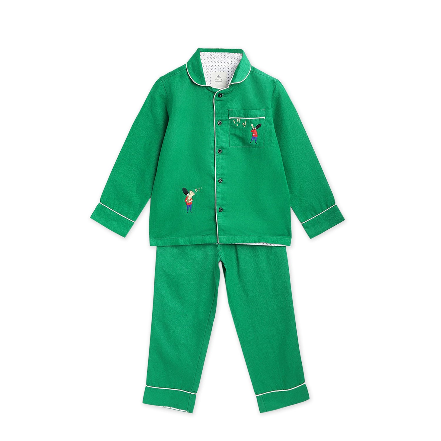 Cherry-Crumble-Kids-Full-Sleeve-Regular-Sleeve-Collared-Emroidered-Shirt-&-Pyjama-Nightsuit