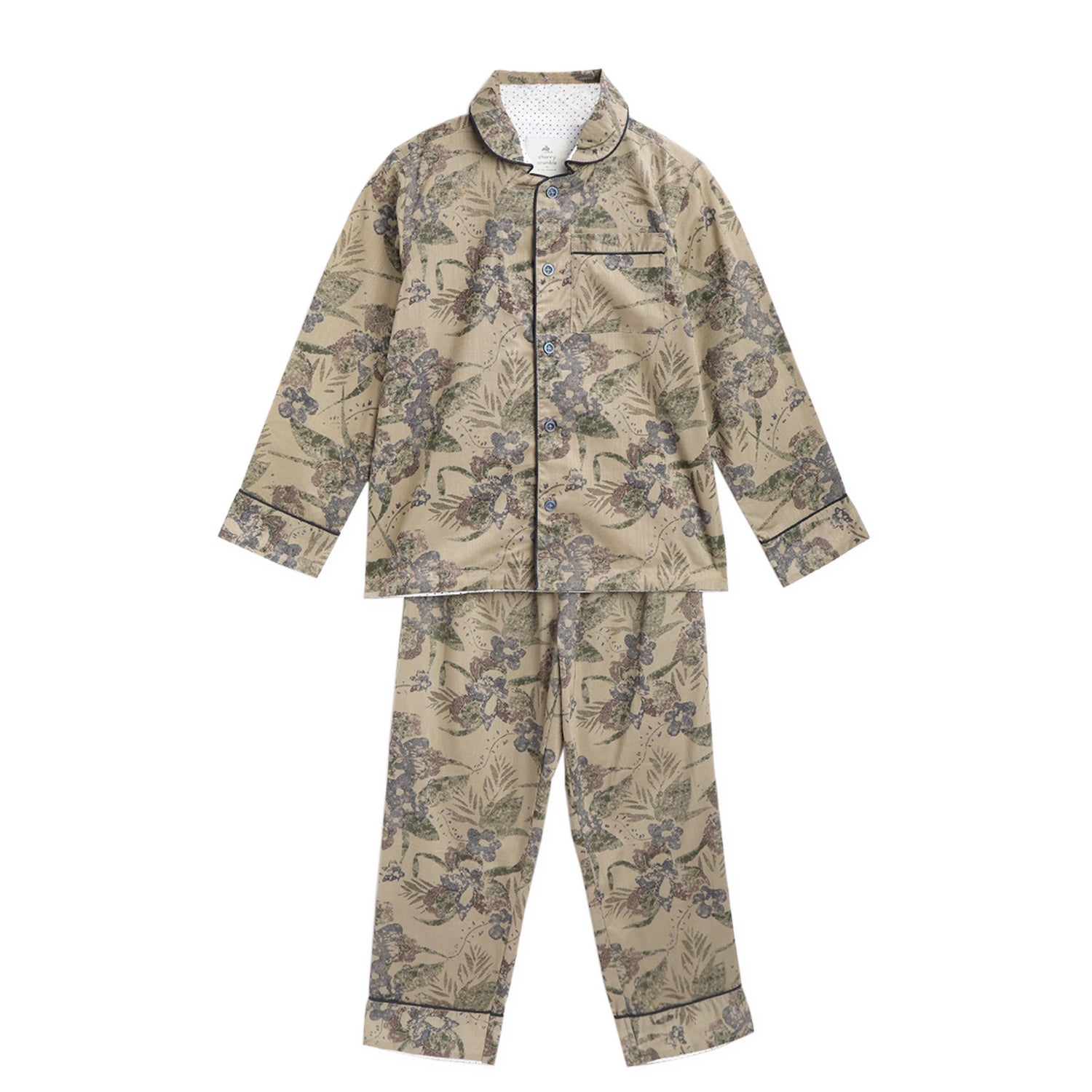 Cherry-Crumble-Kids-Full-Sleeve-Regular-Sleeve-Collared-Floral-Printed-Shirt-&-Pyjama-Nightsuit