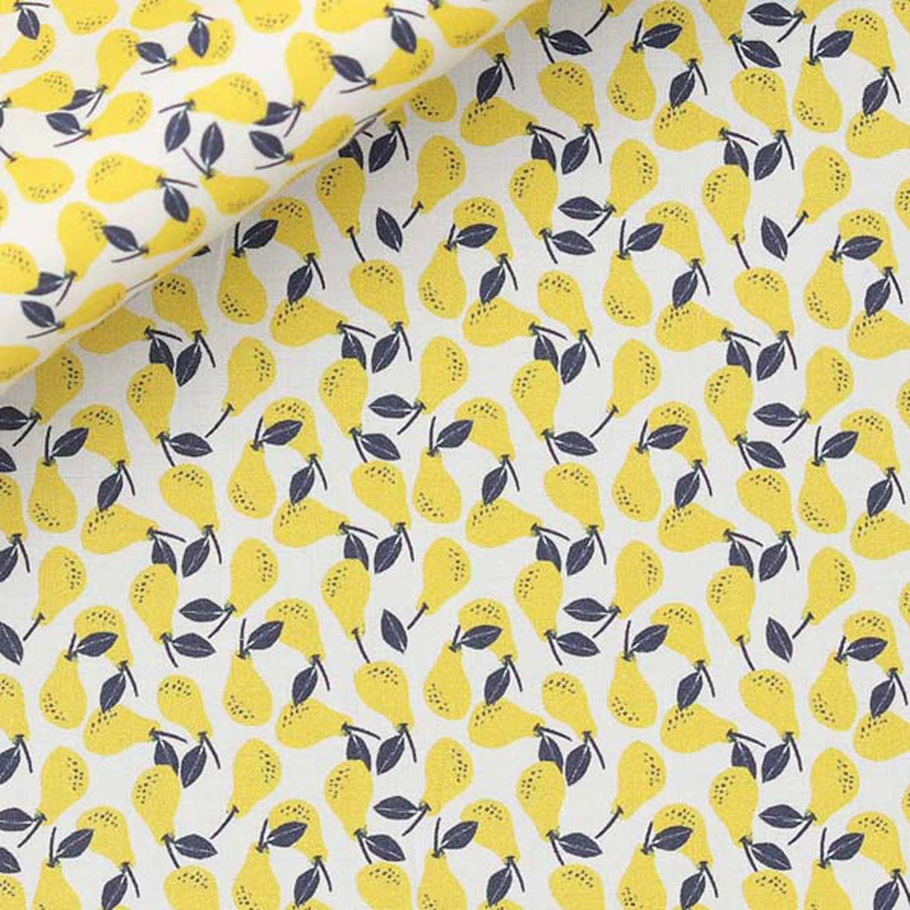 cotton face mask pear print yellow