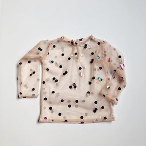 the gracie lace top long sleeve {sepia confetti dot}