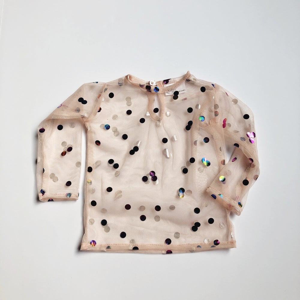 {SAMPLE} the gracie lace top long sleeve sepia confetti