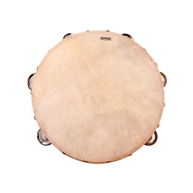 MANO ED617 Tambourine - 10inch with Calf Head 9 Pairs of Jingles