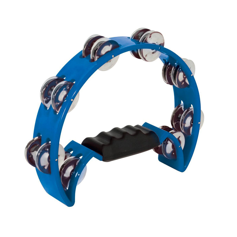 MANO TMP11BL Tambourine Half Moon, Double Row Jingles Blue