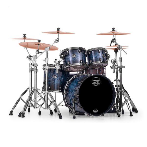 Mapex Saturn V Exotic 4pc Drum Kit - Shell Pack - Deep Water Burl