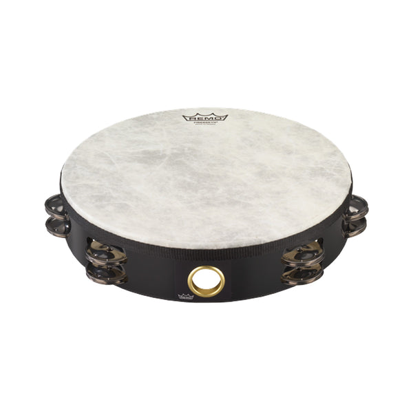 "REMO REM-TA5210 Double Row Tambourine With Head 10"" Black"