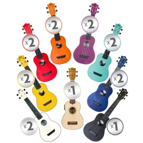 Flight ABS Travel Ukulele Rainbow Class Set