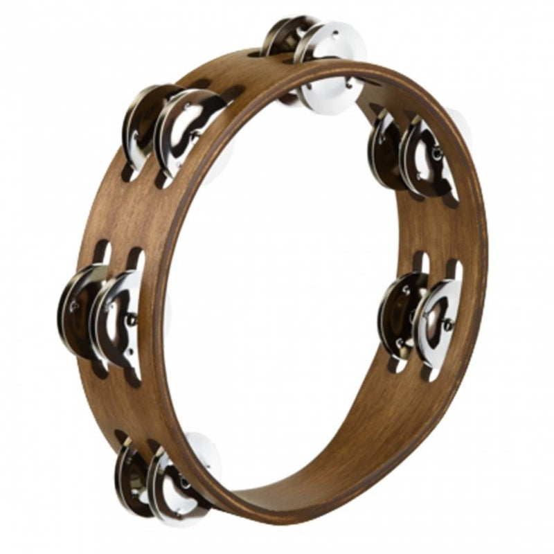 Meinl CTA2S-BK Compact Wood Tambourine Black w/ 2 Rows Stainless Steel Jingles