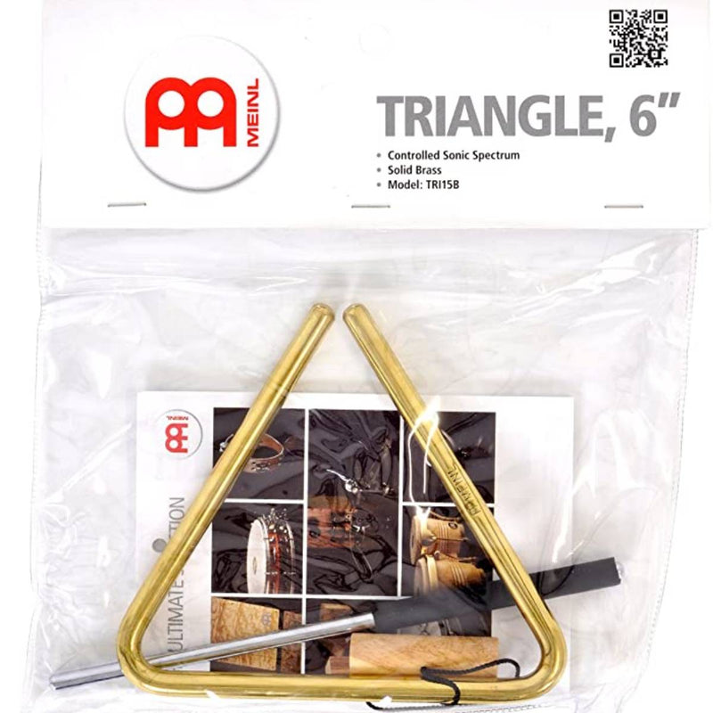 Meinl TRI15B 6-Inch Solid Brass Triangle with Metal Beater