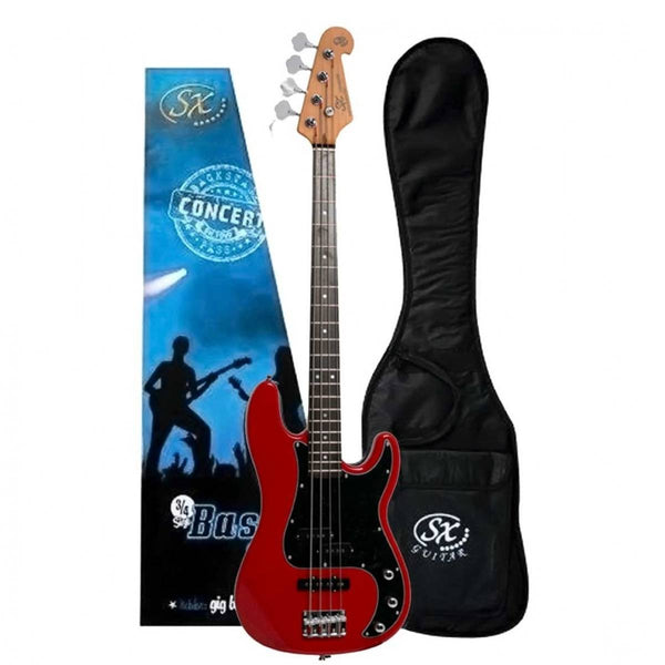 SX 3/4 Size Bass Guitar with Bag in Fiesta Red!