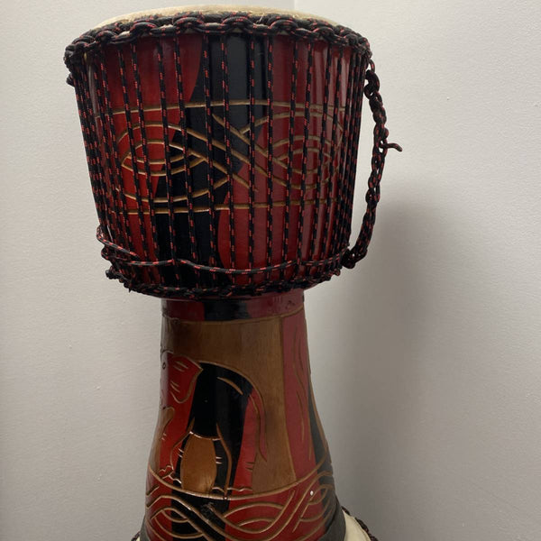 "KALI 12"" Djembe Carved Wood w/ African Rope Tuning"