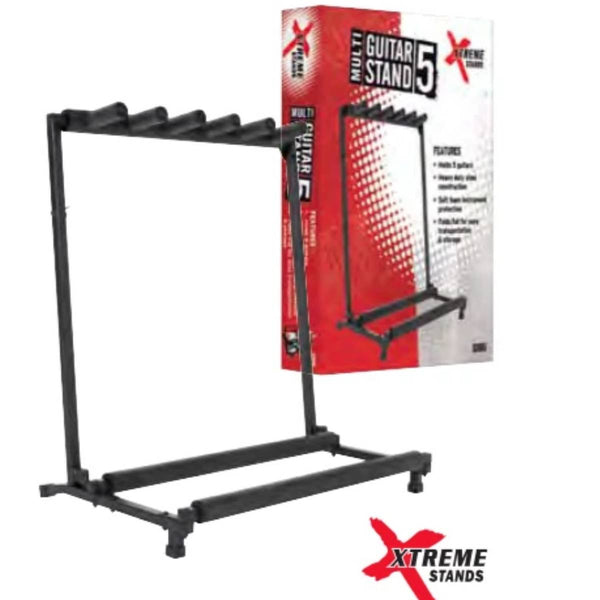 XTREME 5-Piece Guitar Rack for Acoustic, Electric and Bass Guitars