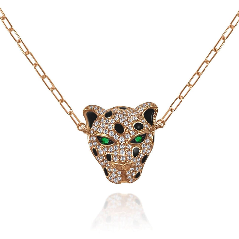 Diamond Tiger Necklace on a 18k Gold Chain with genuine emerald eyes.  Available in Rose, White and Yellow Gold.
