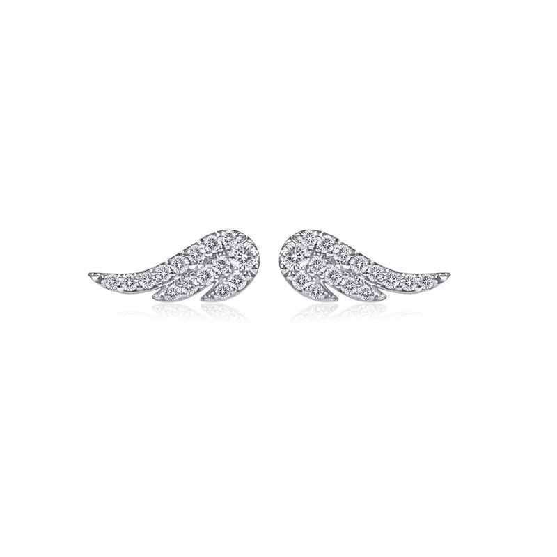Mini Wing diamond Earrings to wear in first or second piercing. 18k Solid Gold