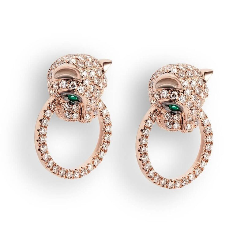 Jaguar shaped high end Earrings intricately designed with Diamonds and emeralds. Made of 18k  solid gold